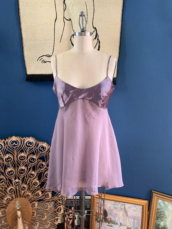 1990s Lavender Chiffon Babydoll . Victoria's Secr… - image 1