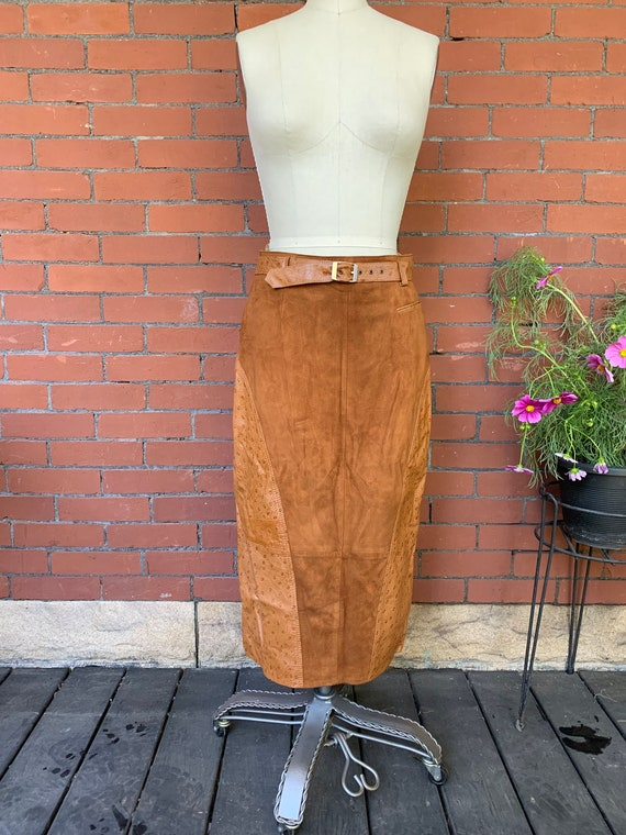 1970's Cedar Suede and Leather Skirt - medium