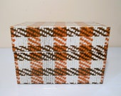 Vintage Woven Plaid Tin Recipe Box Syndicate Mfg