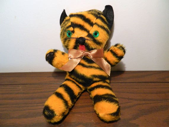Vintage Tiger Stuffed Animal Toy Carnival Prize Etsy