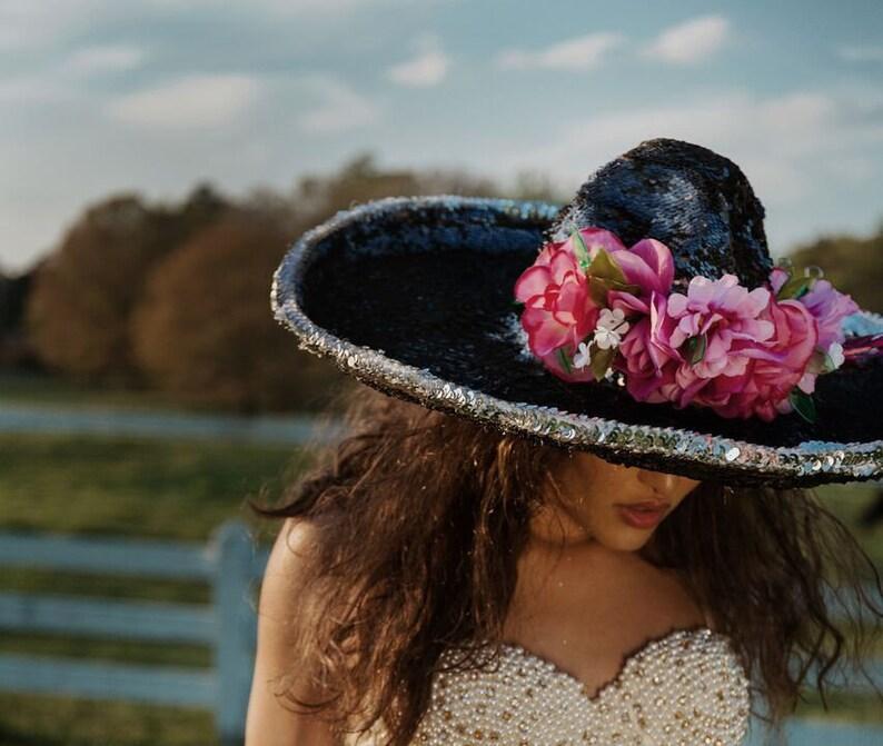 Black sequins mariachi Sombrero cowboy hat