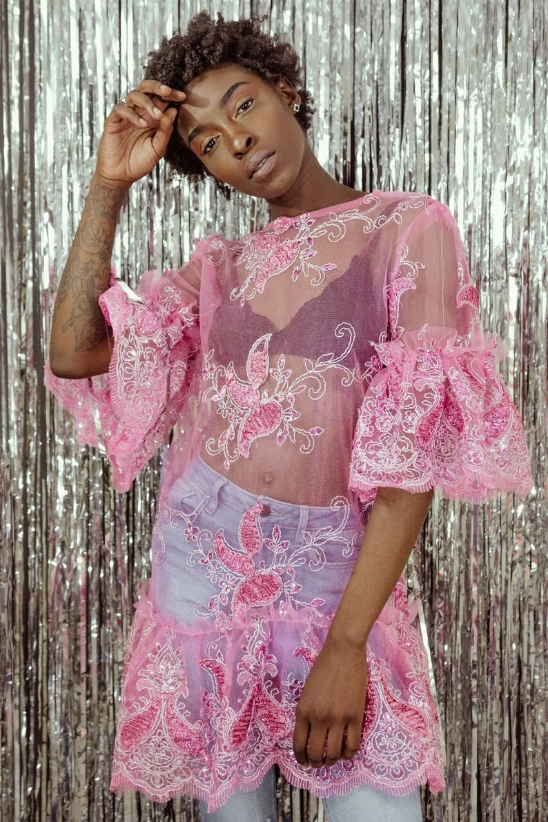 7b916bdea Sheer Pink sequin floral applique Ruffle flapper t-shirt dress   Etsy