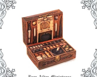 witch potion kit miniature case 112 openable dollhouse magic witch potion case apothecary cabinet halloween miniatures printable download