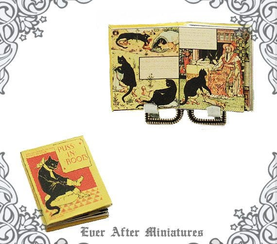 1:12 SCALE MINIATURE BOOK PUSS IN BOOTS WALTER CRANE DOLLHOUSE SCALE