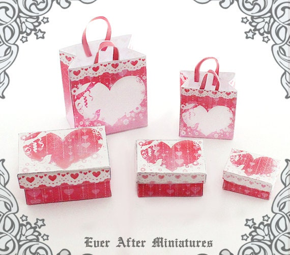 Valentines Day Miniature Gift Box Dollhouse Miniature Gift Bag Set 1 12 3 Heart Miniature Gift Box 2 Shopping Bag Printable Download