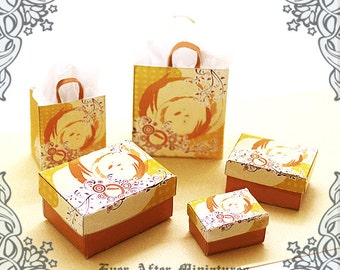 Dollhouse Miniature Gift Box & Miniature Gift Bag Set – 12th Scale ELEGANT Orange 3 Storage Boxes and 2 Shopping Bags - Printable DOWNLOAD