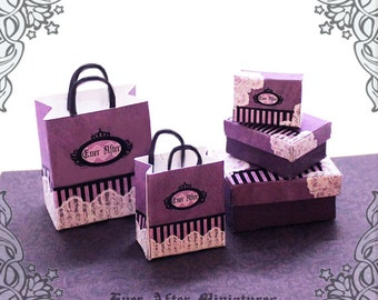 Dollhouse Miniature Gift Box & Miniature Gift Bag Set – 12th Scale 3 Violet Miniature Box and 2 Dollhouse Bag with Lace - Printable DOWNLOAD