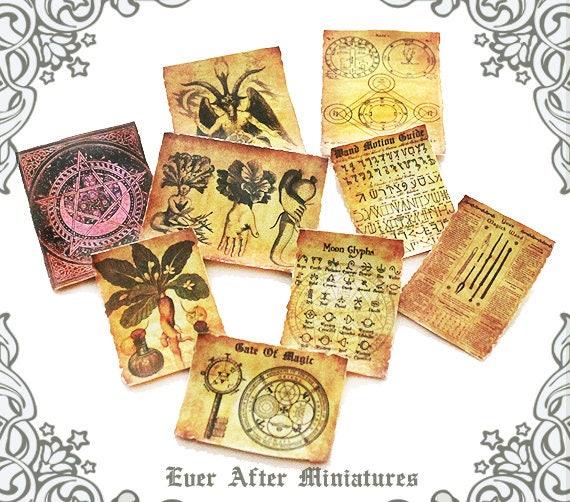 9 WIZARD MAGIC Miniature Scroll Set 3 1:12 Diy Dollhouse