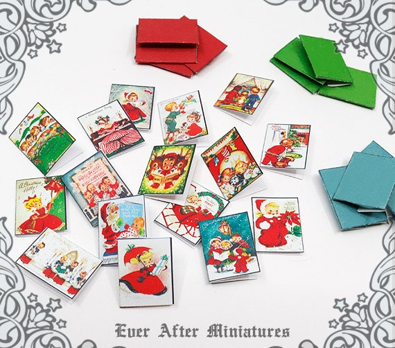 Children Christmas Cards.12 Children Christmas Miniature Cards Envelopes 1 12 Printable Christmas Dollhouse Miniature Cards Christmas Card Greeting Card Download