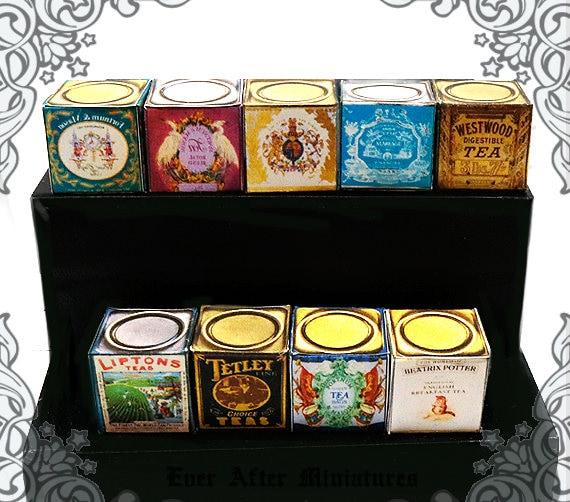 9 ENGLISH TEA Miniature Tin Set 1 1:12 Diy Printable