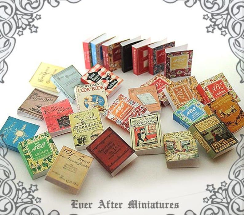 28 VINTAGE COOKBOOK Dollhouse Miniature Book Cover Set 81