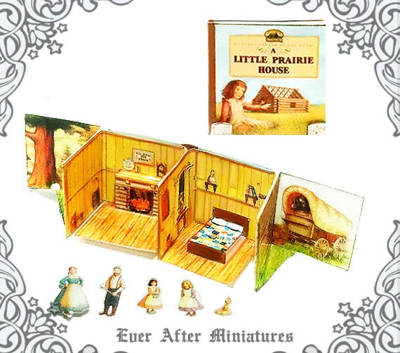 1 12 Little House Pop Up Book Diy Printable Laura Ingalls Wilder Little House On The Prairie Pop Up Doll Dollhouse Miniature Book Download