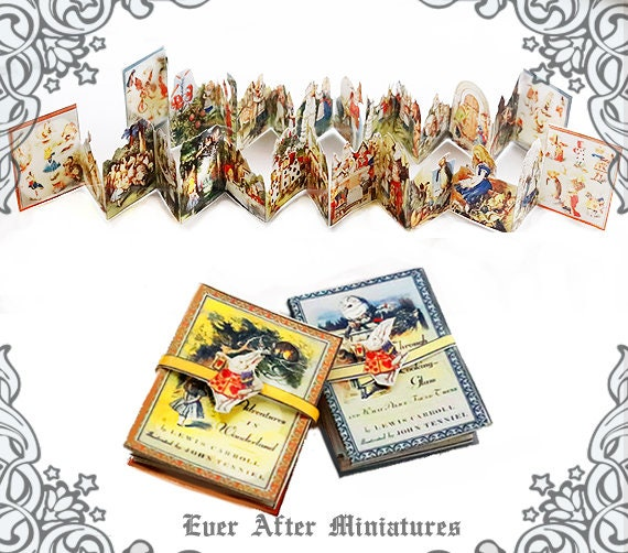 photo about Printable Miniatures referred to as 2 ALICE in just WONDERLAND Miniature Reserve: 1/12 Printable Alice in just Wonderland  Alice throughout the Seeking Gl Dollhouse Miniature Guide Down load