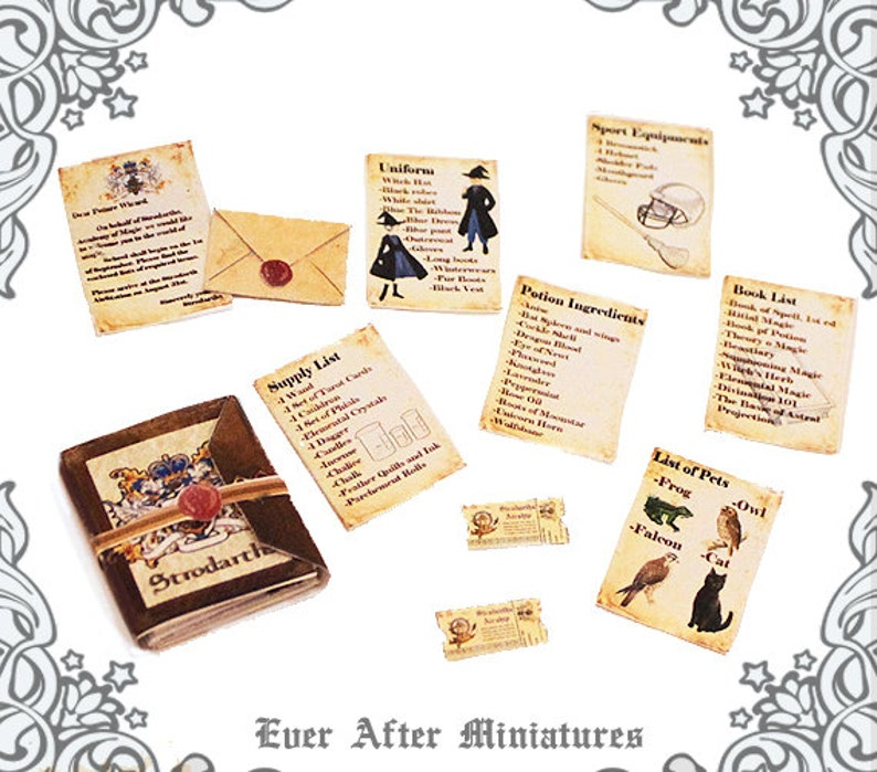 image regarding Printable Miniatures D&d titled WIZARD Faculty Miniature Recognition Letter Delivery Listing Package 1:12 Strodarths Magic Higher education Wizard Letter Witch Dollhouse Printable Obtain