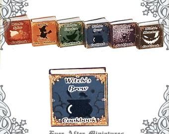 WITCH BREW Cookbook Dollhouse Miniature Book –1:12 Halloween Witch Brew Miniature Book - Halloween Witch Kitchen Cookbook Printable DOWNLOAD