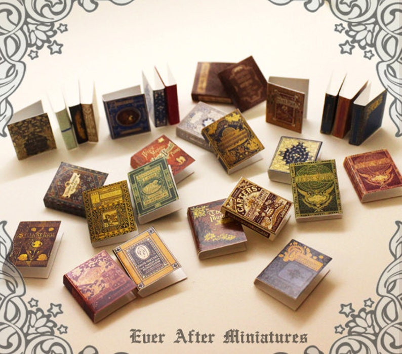 28 Dollhouse Miniature Book Cover Set 3  Collection of 28 image 0