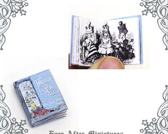 Alice Through The Looking Glass Dollhouse Miniature Book –1:12 Alice Through The Looking Glass Miniature Book- Wonderland Printable DOWNLOAD