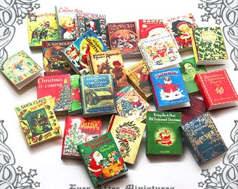 28 CHRISTMAS Dollhouse Miniature Book Cover Set #12– 1:12 Printable Christmas Miniature Book Cover Santa Claus Christmas Book Cover DOWNLOAD