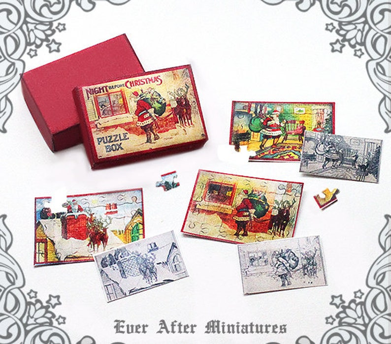 photograph relating to Printable Miniatures titled Night time ahead of Xmas PUZZLE Miniature Activity #7 1:12 Printable Xmas Puzzle Dollhouse Miniature Activity Puzzle Miniature Box Down load