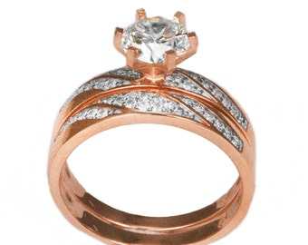 14k Rose Gold Cubic Zirconia Engagement Ring Set with Mens Band