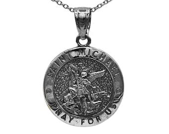 St michael necklace etsy 14k black rhodium gold saint michael medallion with gold chain st michael pendant religious engraved necklace michael the archangel aloadofball Gallery