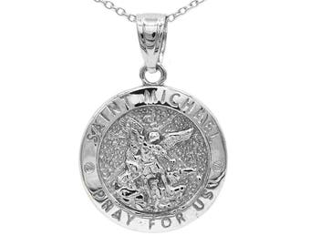 St michael medal etsy quick view 925 sterling silver saint michael aloadofball Images