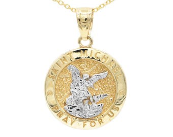 Saint michael etsy 10k yellow gold saint michael medallion with gold chain st michael pendant religious jewelry engraved necklace michael the archangel aloadofball Choice Image