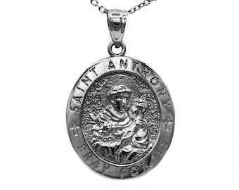 St anthony medal etsy 14k black rhodium gold saint anthony pray for us medal pendant necklace religious jewelry with custom engraving on back aloadofball Images