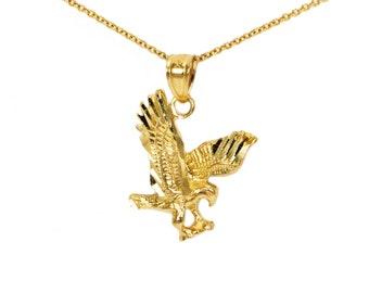 Gold eagle pendant etsy 14k yellow gold dainty eagle pendant for pendant necklace yellow gold small eagle necklace 14k yellow gold eagle charms gold eagle gift aloadofball Gallery