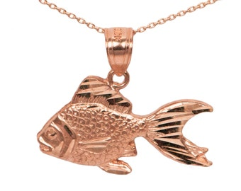 14k Rose Gold Goldfish Necklace