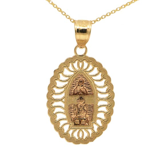 14k Yellow Gold and Rose Gold Medium Oval Guadalupe Medallion Pendant Necklace