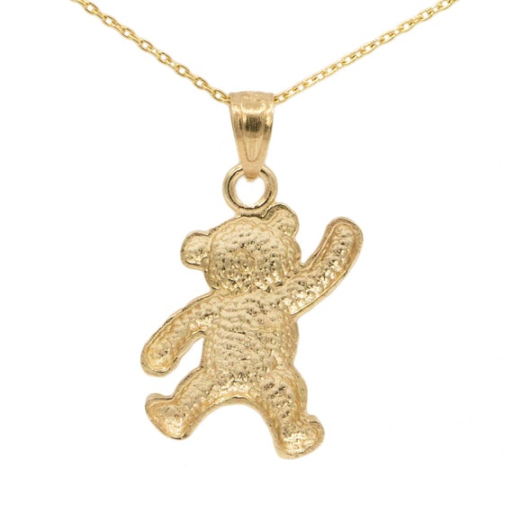 14k Yellow Gold Teddy Bear Pendant on a 14K Yellow Gold Rope Box or Curb Chain Necklace