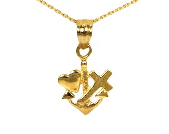 14k Yellow Gold Faith Hope Love Necklace