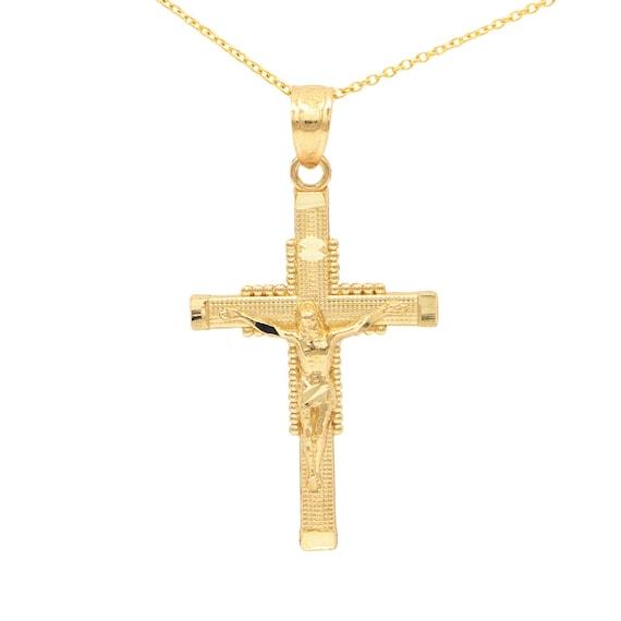 14k Or Jaune Finition Diamant Cross Charms Collier Tour de cou
