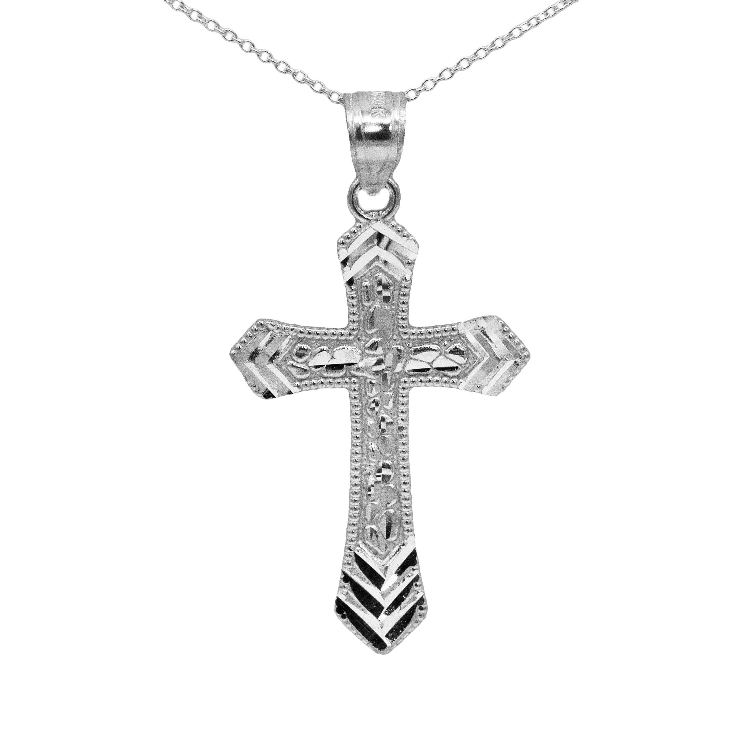 Ice on Fire Jewelry 14k Yellow Gold Nugget Mens Cross Necklace