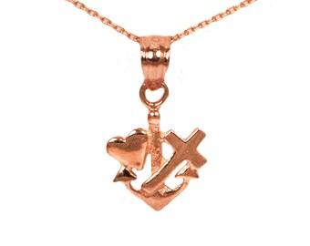 14k Rose Gold Faith Hope Love Necklace