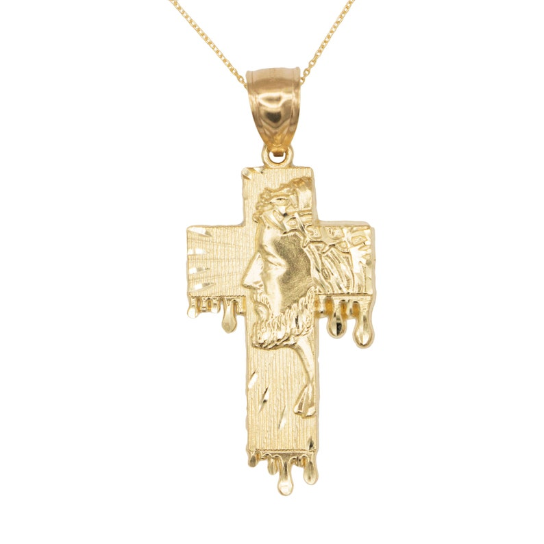 Crucifix Cross Necklace Pendant Cable Chain Jesus Real 10K Solid Yellow Gold