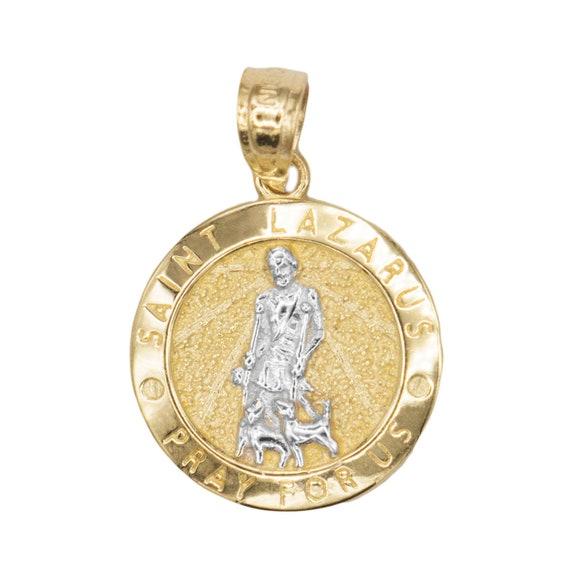 aa2a7a4e0de 10k Solid Gold Saint Lazarus Medal St Lazarus Patron of | Etsy