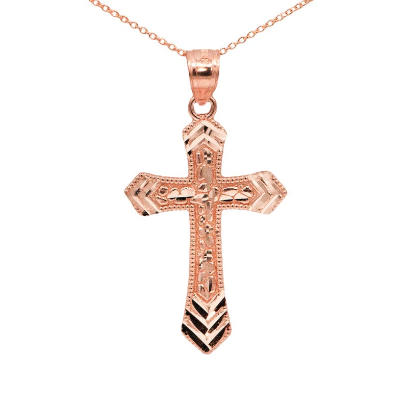 480391e4a3b76 10k Rose Gold Nugget Mens Cross Necklace with Gold Chain