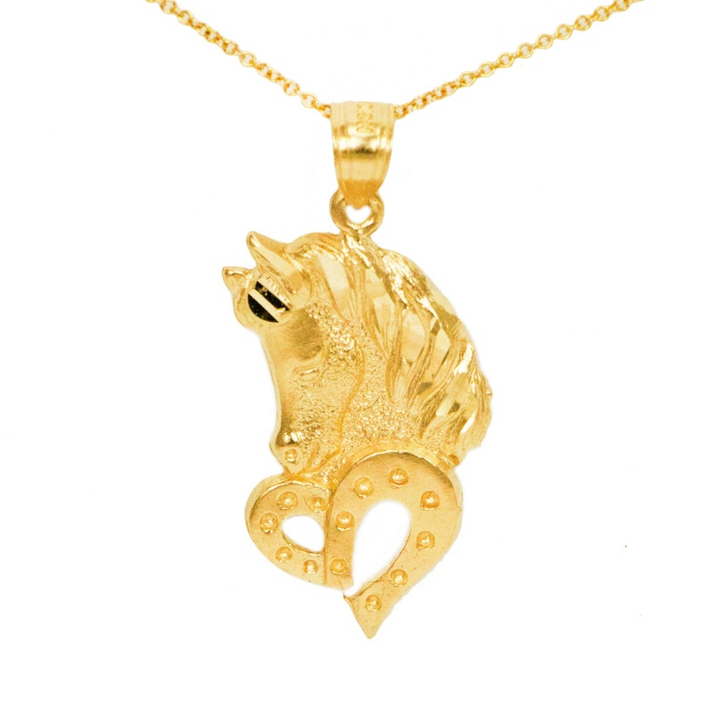 Horse Pendant with Diamond in 14K White Gold-Plated Brass