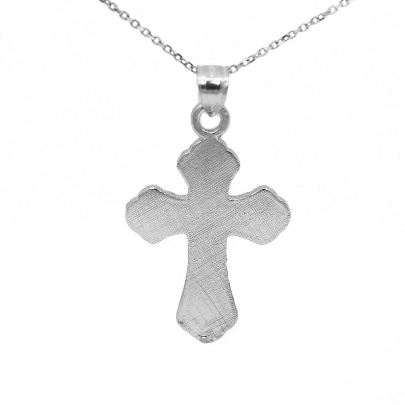 10k White Gold Crucifix Necklace Pendant