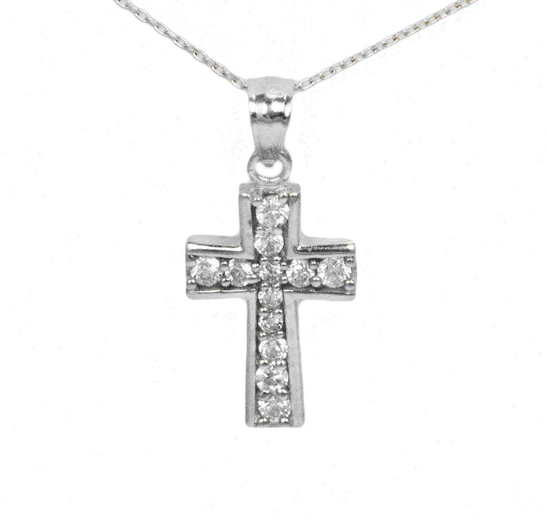 Solid Gold CZ Cross Jewelry for Baptism 14k White Gold Cross Pendant Necklace with CZ Stones Option to Add White Gold Chain