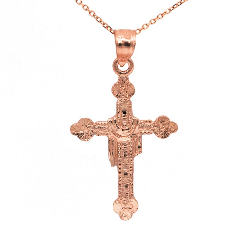 16d7a2282 14k Rose Gold Cross with Cloth Necklace Pendant with 14k Rose   Etsy
