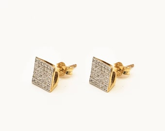 14k Yellow Gold Stud Earrings with Cubic Zirconia Stones, Stud Earrings for Men Micro Pave Earring Anniversary Gift for Men