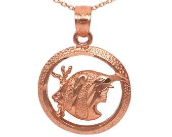 14k Rose Gold Round Angel Fish Necklace