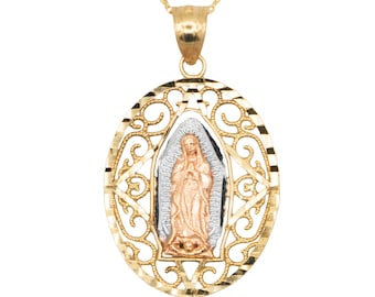 10k Real Solid Gold Our Lady of Guadalupe Necklace with Diamond Cut Finish, La Virgen de Guadalupe Pendant with Option to Add Gold Chain