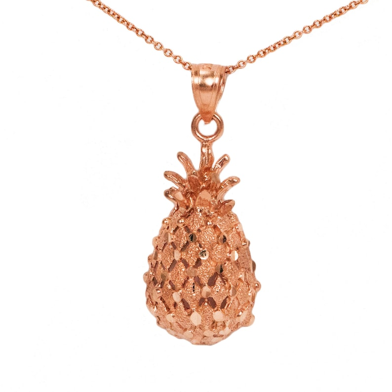 14k Rose Gold Pineapple Necklace