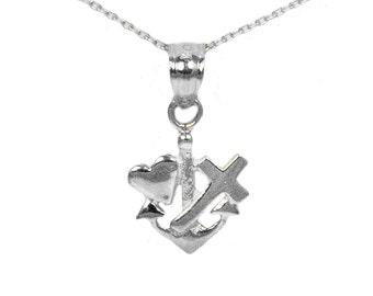 14k White Gold Faith Hope Love Necklace