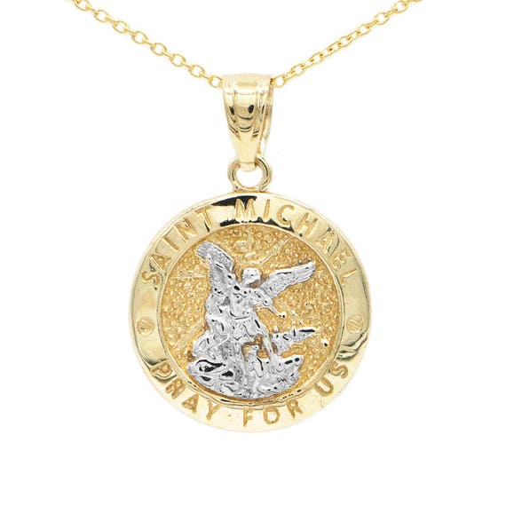 10k Yellow Gold Saint Michael Medallion With Gold Chain St Etsy