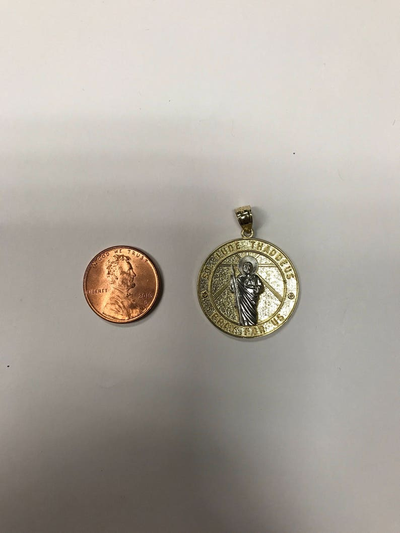 Large Solid Gold Saint Jude Pendant with Option to Add Gold Chain 14k Rose Gold Saint Jude Pray For Us Medallion Necklace